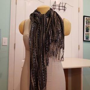 Black / silver & gold scarf
